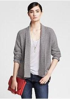 Textured Gray Open Cardigan