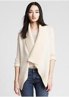 Textured Ivory Open Cardigan