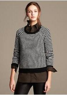 Textured Stripe Merino Wool Pullover