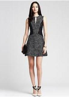 Tweed Lace Panel Fit-and-Flare Dress