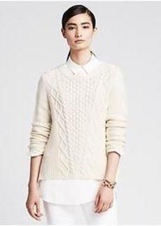 Vented Cable-Knit Pullover