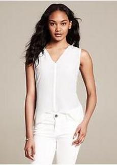 White Silk V-Neck Top