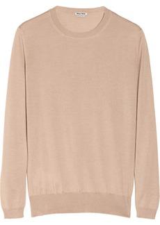 Miu Miu Lace-trimmed cashmere and silk-blend sweater