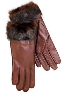 Charter Club Leather with Faux Fur Cuff Gloves