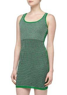 Susana Monaco Mixed Pattern Crochet Sweaterdress, Green Pepper