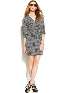 MICHAEL Michael Kors Geo-Print Lace-Up Shirtdress
