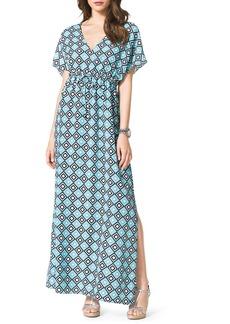 MICHAEL Michael Kors Diamond-Print Short-Sleeve Maxi Dress, Women's