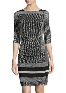 Kay Unger New York Printed Ruched-Waist Mesh Dress, Black