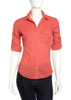 James Perse Ribbed Panel Shirt, Sunfire