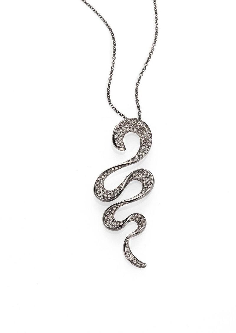 Adriana Orsini Pave Crystal Hematite-Plated Ruffle Pendant Necklace