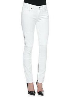 Demi Moto-Style Skinny Jeans, White   Demi Moto-Style Skinny Jeans, White