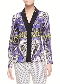 Etro Printed Charmeuse Long-Sleeve Shirt