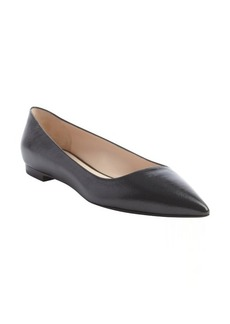 Armani black leather pointed toe flats