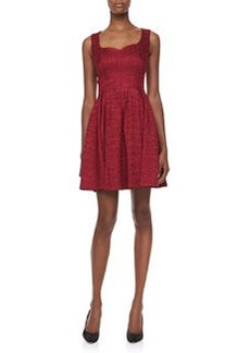 Zac Posen Jacquard Sleeveless Flared Party Dress