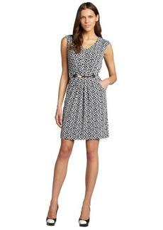 Tahari ASL black and white patterned sleeveless dress