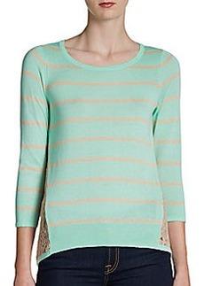 Design History Bi-Colored Lace-Back Pullover
