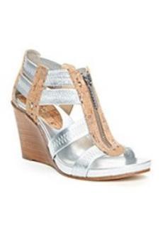 """Donald J Pliner® """"Ginge"""" Stacked Wedge Sandals - Silver"""