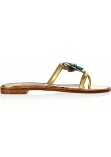Oscar de la Renta Wissy Flo embellished patent-leather sandals