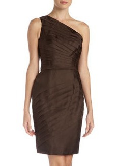 Carmen Marc Valvo One-Shoulder Pleated Organza Dress, Java
