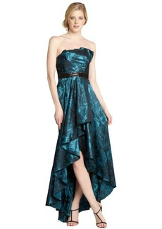 Carmen Marc Valvo teal strapless ruffled jacquard high-low gown