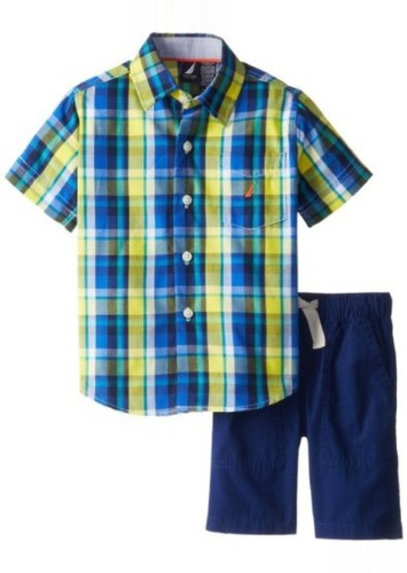 Nautica little boys 39 short sleeve woven and short 2 piece for Nautica shirts on sale