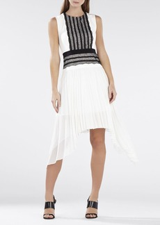 Adelyn Sleeveless Pleated-Skirt Lace-Trim Dress