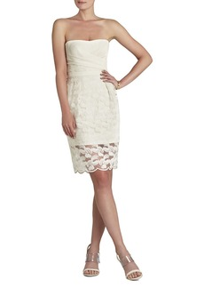 Adrianna Strapless Embroidered-Skirt Dress