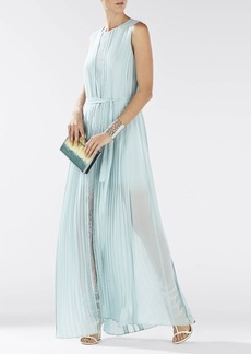 Adriena Sleeveless Lace-Blocked Gown