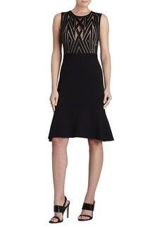 Alandra Lace-Trim Fluted-Skirt Dress
