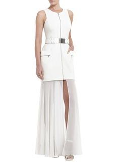 Annalisa Sleeveless Sheer-Skirt Dress