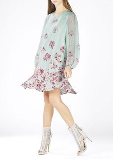 Bailee Long-Sleeve Flounce-Hem Dress