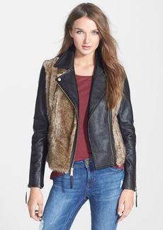 BCBGeneration Faux Fur & Faux Leather Moto Jacket