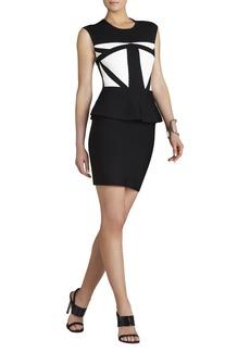 Caprice Geometric Jacquard Peplum Dress
