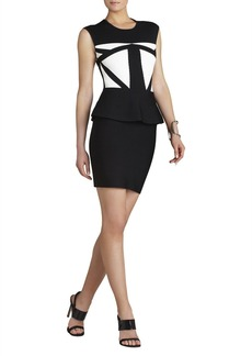 Caprice Geometric Jacquard Peplum Dress