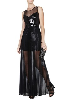 Cynthia Sequined-Detail Sunburst Pleated Gown