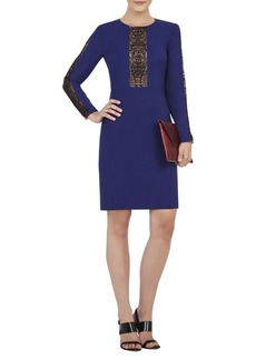Eloisa Long-Sleeve Embroidered-Trim Dress