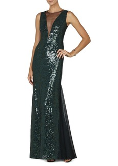Evette Sleeveless Deep V-Neck Gown