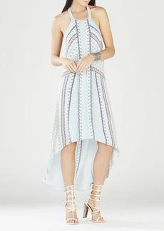 Ginevia Scarf Print Hi-Low Hem Halter Dress