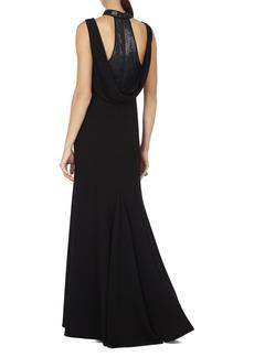Haiden Sleeveless Sequin-Collar Gown