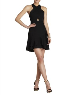 Isabele Cutout-Bodice Peplum Dress