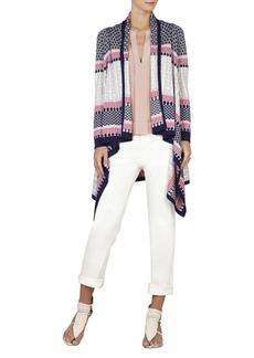 Janel Striped Jacquard Cardi-Wrap