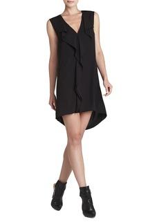 Jena Sleeveless Draped-Placket Shift Dress