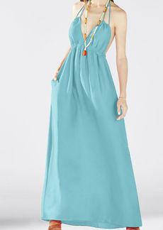 Kamala Open-Back Halter Maxi Dress