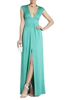 Kiera V-Neck Slit-Front Gown