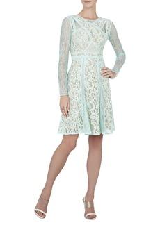 Mallory Long-Sleeve Lace-Blocked Dress