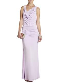 Nicole Draped-Neck Floor Length Dress