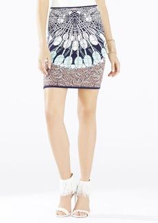 Pavel Batik Fans Jacquard Fitted Skirt