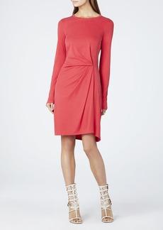 Roxie Front Tuck Pleat Long-Sleeve Dress