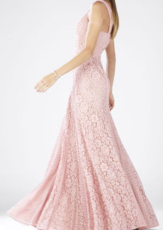 Sonya Sleeveless Lace-Blocked Gown