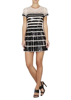 Tasi Sequin-Striped Lace Dress